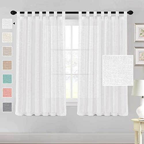 """H.VERSAILTEX Natural Linen Sheer Curtains 63 Inch Length - Semi Sheer Tab Top Curtain Sets for Living Room/Bedroom Privacy and Sunlight Filtering, 2 Panels (52"""" W x 63"""" L, White)"""