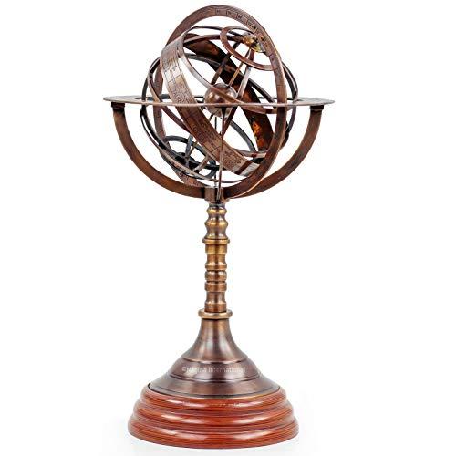 20' Armillary Sphere Globe Antique Brass | Home Decor & Table Center Piece | Engraved Brass Tabletop Functional Rotatable Armillary Sphere Nautical Globe Antique Astrolabe