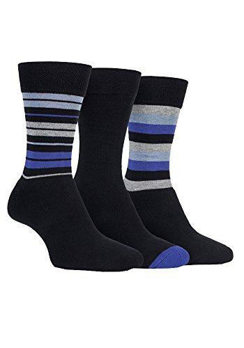 FARAH® - 3 Paar Herren Männer Elegante Lustig Baumwollsocken Comfort Luxus Socken mit Muster Streifen für Anzug Bunt (39-45 EU, CS120BKPR (Striped))