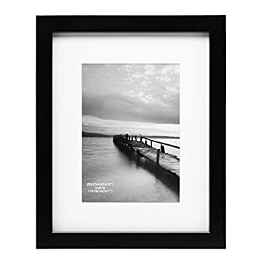 MeiC 8x10  Wall Table Picture Photo Frames for 5x7 with Mat or 8x10 without Mat Black