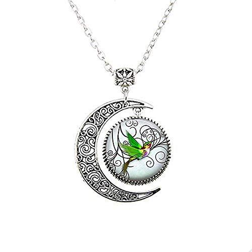 Grüner Kolibri-Schmuck, Vogel, Mond, Halskette, handgefertigt, Vintage-Stil, Glaskunst, Fotoschmuck