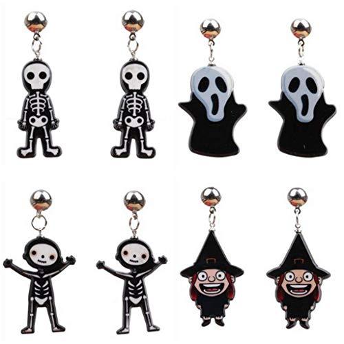 WSJ Moda De Halloween Rock Punk Calavera Novedad Esqueleto Fantasma Pendientes para Mujeres Hombres Pendientes Joyería Hiphop