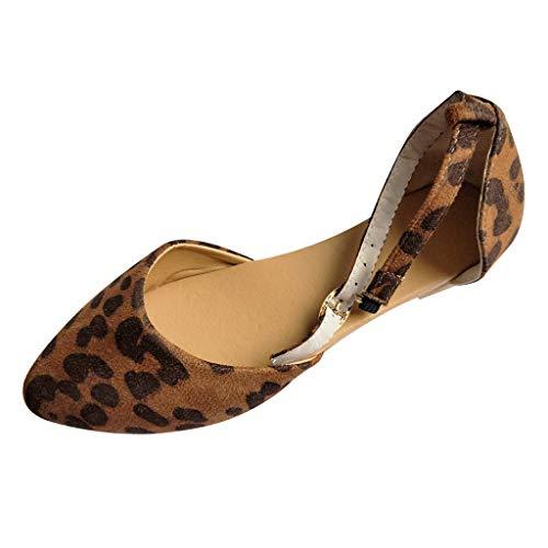 Sandalias Romanas De Punta Plana para Mujer Ajustables Sandalias de Leopardo de Damas Vintage Solo Zapatos Verano Romanas Cómodo Y Elegante Zapatillas Chanclas riou