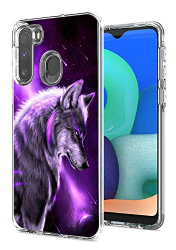 for Samsung A11 Case, Galaxy A11 Case, Dikoer 2 in 1 Heavy Duty Hybrid Clear Hard PC Cover + Soft Silicone Anti-Scratch Shockproof Premium Protective Phone Cases for Samsung Galaxy A11, Purple Wolf