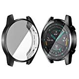 subtel® Hülle kompatibel mit Huawei Watch GT 2 (46mm) TPU Schutzhülle Tasche Flip Cover Hülle Etui schwarz