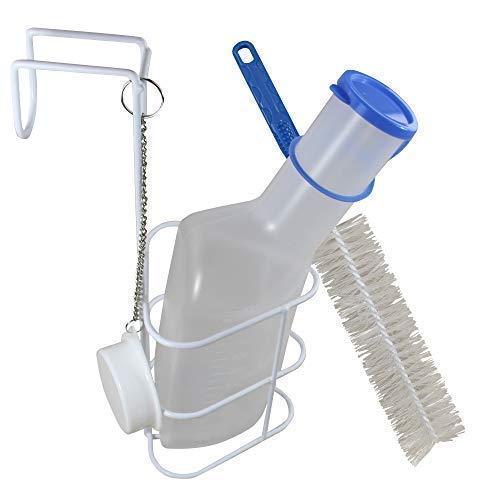 Medi-Inn Urinflasche PP | 1 Liter Fassungsvermögen | autoklavierbar | mit Betthalter und Reinigungsbürste