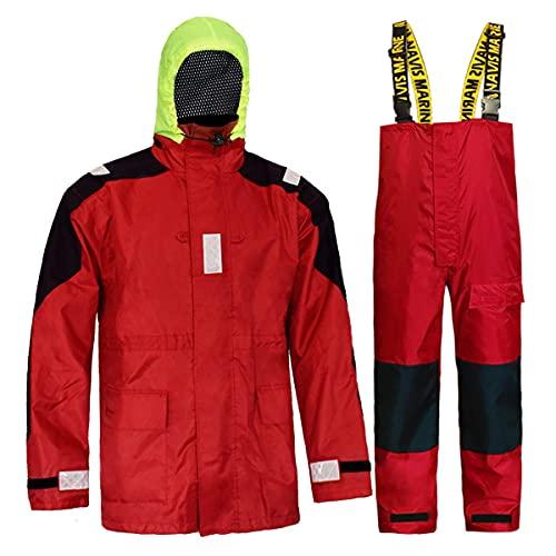 Sailing Jacket with Bib Pants Overall Waterproof for Men Women Fishing Rain Suits Coastal (Red, Medium)