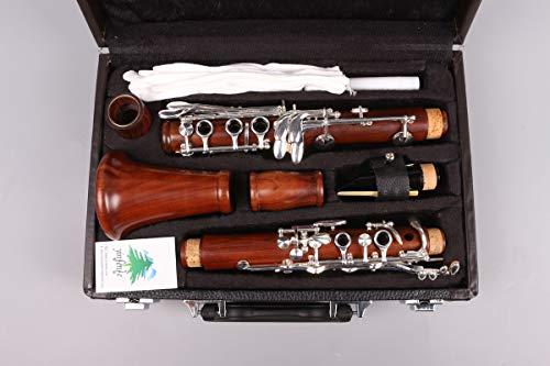 Yinfente Cuerpo de madera de palisandro intermedio B-Flat para clarinete con placa de plata Bb Key Case + lengüetas + almohadillas (llave BB)