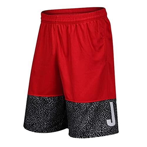 YUEMO Short Rojo Basketball Shorts Deportivos Hombre Elástica Pantalon Corto Bolsillos Hombre Athletic Pantalones Cortos Hombre Deportes Casuales Shorts XL
