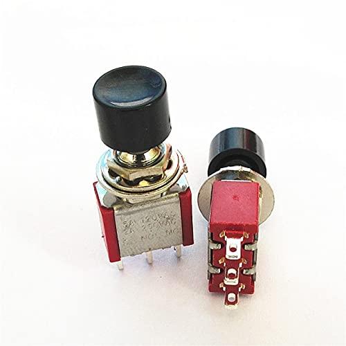 banapo 10pcs 3Pin NO NC 6mm Montaje momentáneo Interruptor de botón pulsador Tapa Redonda Desbloqueo Rojo/Amarillo/Verde/Negro (Color : Black)