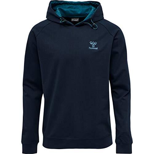 hummel Unisex-Adult hmlACTION Cotton Hoodie Sweatshirt, Dark Sapphire/Blue Coral, XL