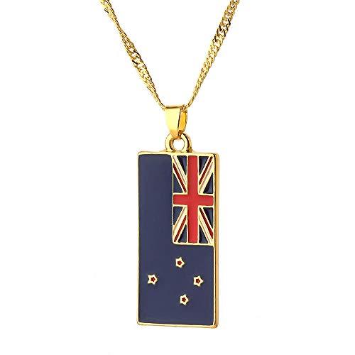 Preisvergleich Produktbild zbzmm Halskette Australische Quadratische Flagge Hundemarke Halskette Charm Gold Kettenhalsband Für Männer Frauen Land Schmuck Halskette Mode Geschenk Accessoires