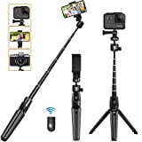 Phone Tripod, KKUYI Selfie Stick Tripod for iPhone with Remote, 3 in 1 iPhone Tripod Stand Mount Holder Bluetooth for iPhone 11 Pro Max XS Max XS XR X 8 7 6, Gopro, Cell Phone, Android, Camera