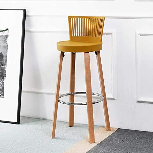 Keukenkruk, hoge startinrichting Nordic vrije tijd van massief hout kunststof-legering stoelen Café met rugleuning duurzaam en mooi uiterlijk geel zittend hoogte 76 cm multifunctionele toilettafel Geel