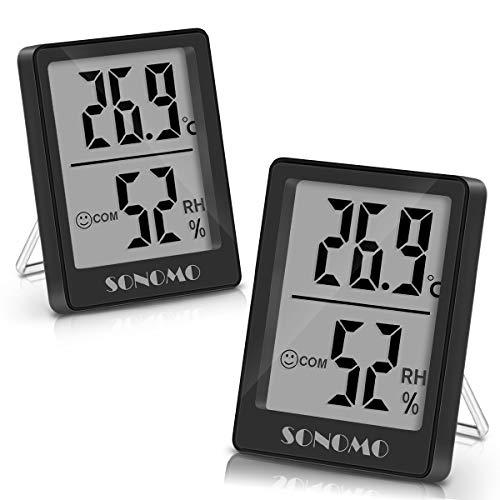 Sonomo Thermo-Hygrometer, 2 Stück Thermometer Innen Hygrometer Digital Raumthermometer Luftfeuchtigkeitsmessgerät mit Hohen Genauigkeit, für Innenraum, Babyraum, Wohnzimmer, Büro - Schwarz