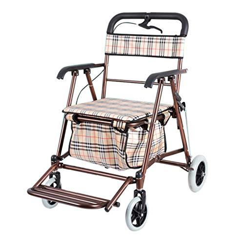 Faltender Einkaufswagen Alter Roller-Vierrad kann drücken, um zu sitzen, ältere Gepäckanhänger-Kleiner Wagen erhöhen das Verbreitern der maximalen Tragfähigkeit 150kg