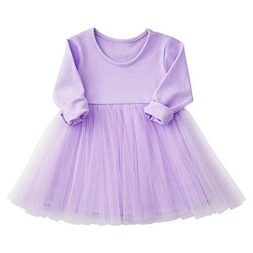 Baby Girls Dress Tutu Long Sleeves Ruffle Tulle 9-48m (24-36 Months, Purple)