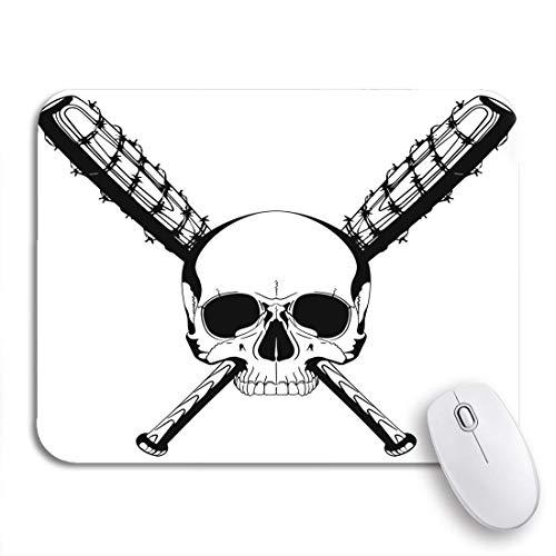 Gaming Mouse Pad Menschlicher Schädel und zwei gekreuzte Baseballschläger bedeckt mit Widerhaken rutschfeste Gummiunterlage Mousepad für Notebooks Computer Mausmatten