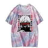Camisetas de Tokyo Ghoul Kaneki Ken Camiseta con Efecto Tie Dye Anime Jersey de Manga Corta Tops Unisex Streetwear Harajuku Camiseta para Hombres Mujeres Adolescentes