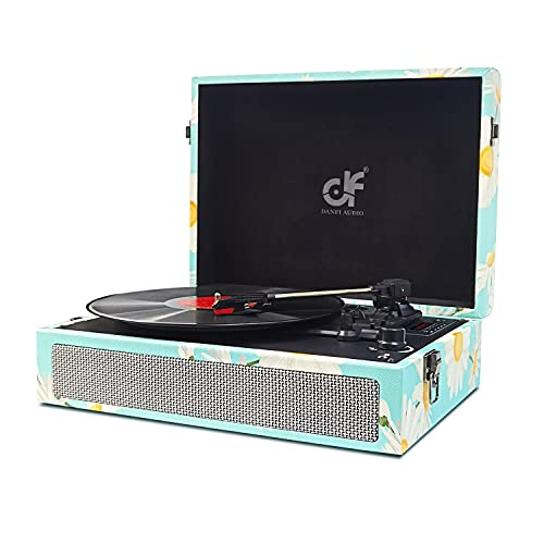 Vinyl Record Player Bluetooth Turntable 3 Speed Record Player with Built-in Speakers, USB Recording Vintage Suitcase Turntable for Vinyl Record Portable LP Phonograph Vinyl Player Blue