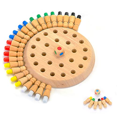 KATELUO ajedrez de Memoria,Juego de Memoria de Madera, Juguetes cognitivos de Color para niños,Adecuado para juegos de padres e hijos. El mejor regalo para niños