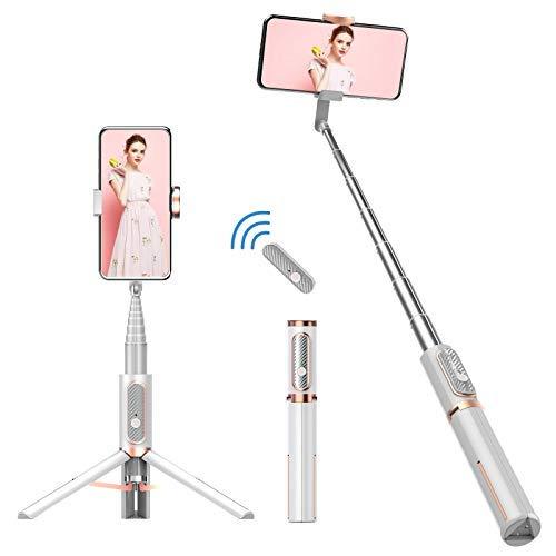 Colorlizard Bluetooth Selfie Stick Stativ, Aluminium Ausziehbare Selfie Sticks mit Fernbedienung, 270 ° Rotation Mini-Stativ für iPhone/Android Smartphone (Weiß)