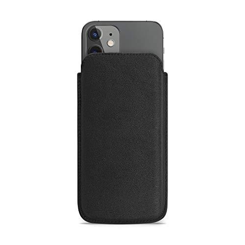 WIIUKA Echt Ledertasche - Pure - für Apple iPhone 11 & iPhone XR, extra Dünn, kabellos Laden Qi, Hülle im Slim Design, Schwarz, Premium Leder Tasche Hülle