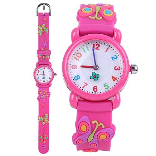 Reloj de mariposa infantil, reloj impermeable de dibujos animados en 3D para niños Reloj de cuarzo deportivo de silicona con esfera redonda para niños pequeños Niños pequeños Niños Niñas(rojo)