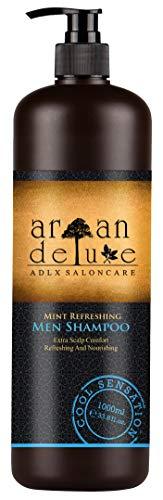 Argan Deluxe herenshampoo in kapperskwaliteit 1000 ml - Sterk verzorgende shampoo met mint voor mannen