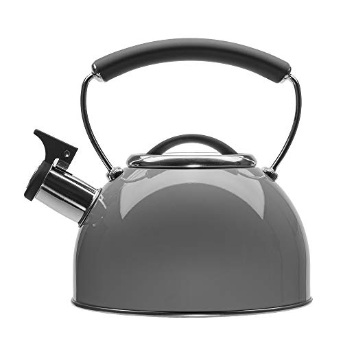 Primula Chelsea Whistling Stovetop Tea Kettle Food Grade Stainless Steel Hot Water, Fast to Boil, Cool Touch Handle, 2.3 Quart, Gray