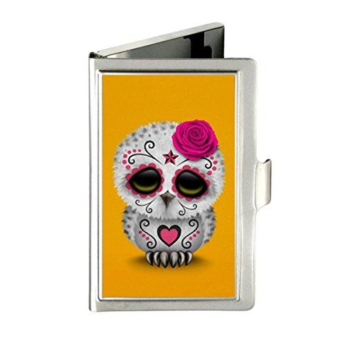 Udoosun Vintage Cute Rainbow Polka Dot Custom Business Bank Name Card Case Holder Silver Box Pocket Credit Card ID Wallet (Cute Day of The Dead Sugar Skull Owl)