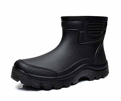 [EmiShoes] レインシューズ メンズ レインブーツ 安全靴 ショット 雨靴 ビジネス 釣り 通勤 晴雨兼用 通学 雨の日 豪雨 24.5cm〜27.5cm 黒 軽量 滑りにくい 歩きやすい 柔らか (28cm)