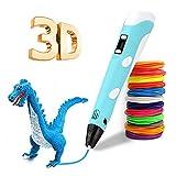 LONXAN Bolígrafo 3d para Niños ,12 Colores Inteligentes Bolígrafo de Impresión 3d,Compatible con PLA y ABS,Pantalla LCD ,con Cable Usb y Enchufe ,Regalo de Juguete de Aprendizaje Educativo Para Niños