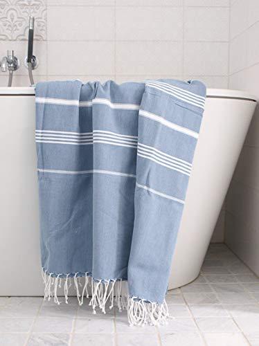 Ottomania Saunatuch Hamamtuch Hammamtuch XL blau graublau jeansblau/weiss 220x160 cm extragroß 100% Baumwolle