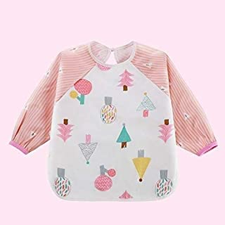 Baby feeding supplies Cute Cartoon Bibs Waterproof Infant Eating Children Drawing Long Sleeve Apron Self Feeding Bib Pink Bibs Pacifier Baby Bibs for Boys and Girls Suitable for infants and toddlers