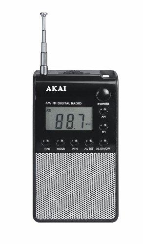 APR25 Akai Radio Portátil, negro, Plata