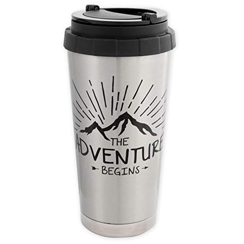 The Adventure Begins - Thermobecher aus Edelstahl mit Deckel im Outdoor Design - ideal für Reisen, Camping, Trekking. Doppelwandige Isolation, hält Lange warm & kalt - Isolierbecher von MUGSY.de
