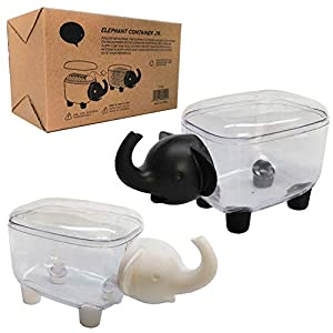 HomDSim 2 Pack Elephant Shape Cotton Swab Holder,Cotton Bud Small Q-Tips Toothpicks Brushes Pin Holder Box Case Storage Organizer Jar with Clear Lid Dustproof Cover Black + White