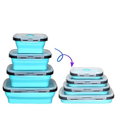 Crepow Silikon-Aufbewahrungsdosen für Lebensmittel, zusammenfaltbar, für Kinder oder Küche, BPA-frei, mikrowellen-, spülmaschinen- und gefriergeeignet blau
