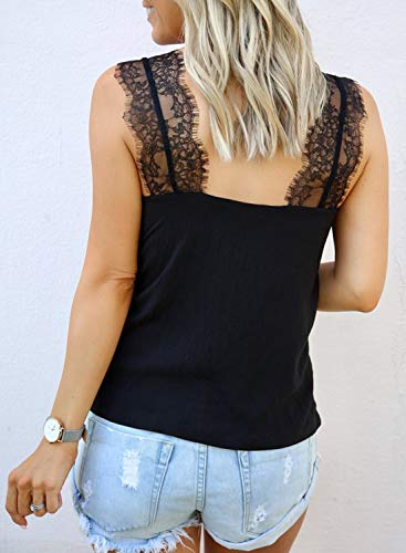 Fashion Shopping BLENCOT Women's V Neck Lace Strappy Cami Tank Tops Casual Loose Sleeveless