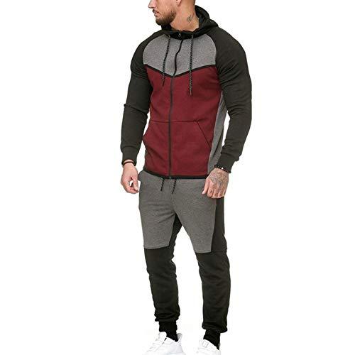 Men Hoodies Suit,thicken Cotton Men Hoodie Sweatshirts Suit Elasticity Keep Warm Men Hooded Cardigan Suit with Drawstring Red