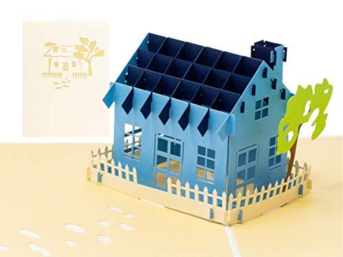 LIMAH® Pop Up Hauskarte, Glückwunschkarte, Freundschaftskarte, Geschenkkarte, Überraschungskarte zum Eigenheim mit einem großen blauen Haus und einem grünen 3D Baum