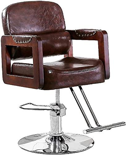 Silla de peluquería Silla de peluquería de estilo resistente Silla de peluquería hidráulica para peluquería de peluquería en belleza y cuidado personal Silla reclinable clásica, equipo de peluquería
