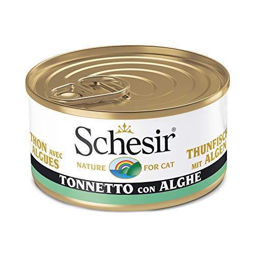 Schesir, Cibo Umido per Gatti Adulti al Gusto Tonnetto con Alghe, in Morbida Gelatina - Totale 2 Kg (24 Lattine Monodose da 85G)