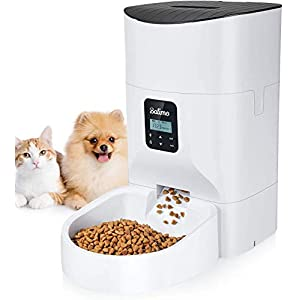Balimo 6L Automatic Cat&Dog Feeder with App Control, Full 1080HD WiFi Camera and Night Vision with Timer Programmable Control, Anti-Blocking Design and Voice Recording 1-8 Meals per Day (Full White)