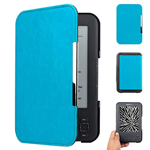 WALNEW Amazon Kindle Keyboard (kindle 3 D00901) Case Cover -- Ultra Lightweight PU Leather  Cover for Amazon kindle Keyboard(3rd Generation)Tablet with 6 Display and Keyboard (Light Blue)