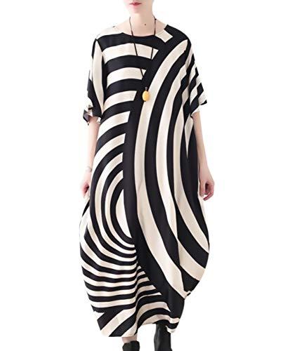 YESNO JCT Women Long Loose Maxi Dress Striped Sheer Dress Bat-Wing Sleeve (2XL, Beige-Black)