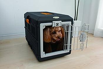 Iris Ohyama, Caisse de transport / cage transport pliable, 2 portes (devant & derrière), poignée, ventilation optimale, pour chat & chien max 12 kg - Pet Carry FC-550 - Noir