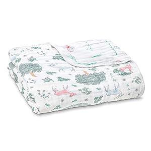 aden + anais Dream Blanket, Boutique Muslin Baby Blankets for Girls & Boys, Ideal Lightweight Newborn Nursery & Crib Blanket, Unisex Toddler & Infant Bedding, Shower Gifts, Forest Fantasy, Deer