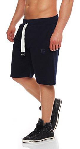 Gennadi Hoppe Herren Sweat Short Cotton Sweat Short Kurze Hose Bermuda Sweatpant Sport Shorts,blau,L